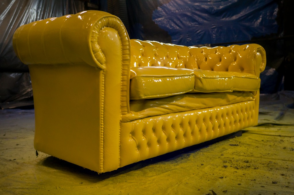 Plastic coating Chesterfield sofa